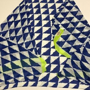 Hollister Blue White Neon Yellow Print Scarf Wrap